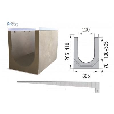 Лоток бетонный ЛВК М Light 200 с уклоном № 01-20