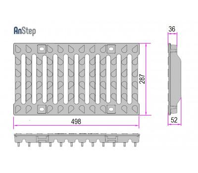 Решетка чугунная щелевая Light 200 E600