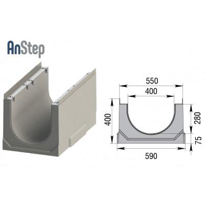 Лоток водоотводный бетонный ЛВК ВМ Sir 400 № 0/0