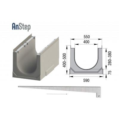 Лоток водоотводный бетонный ЛВК ВМ Sir 400 с уклоном № 1...20