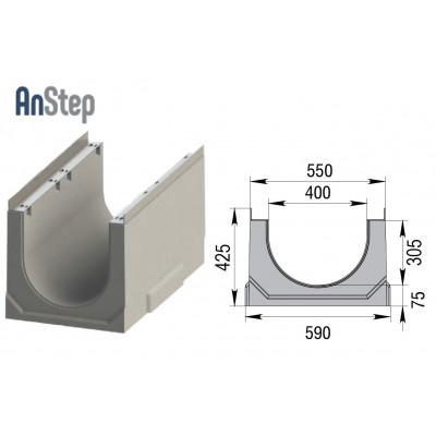 Лоток водоотводный бетонный ЛВК ВМ Sir 400 № 5/0