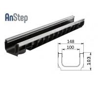 Лоток водоотводный Standart Plus ЛВ-10.14,5.10 - пластиковый (усиленный)