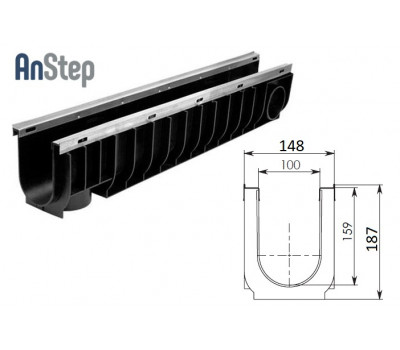 Лоток водоотводный Standart Plus ЛВ-10.14,5.18,5 - пластиковый (усиленный)