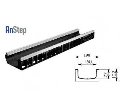 Лоток водоотводный Standart Plus ЛВ-15.19,6.10 - пластиковый (усиленый)