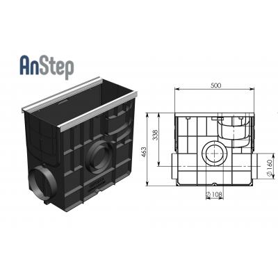 Пескоуловитель Standart Plus ПУ-20.24,6.46 - пластиковый универсальный для лотков пластиковых DN150 и DN200 (усиленный)