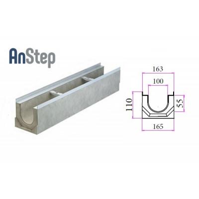 Лоток водоотводный бетонный ЛВК ВМ Light 100 № 0 (мелкосидящий)