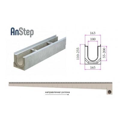 Лоток водоотводный бетонный ЛВК ВМ Light 100 с уклоном № 01-20