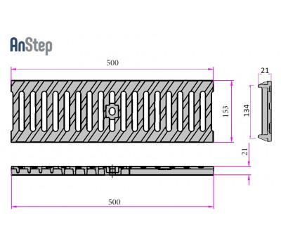 Решетка чугунная щелевая Light 100 C250