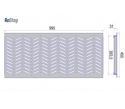 Решетка оцинкованная щелевая Plus 400 А15