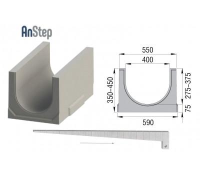 Лоток водоотводный бетонный ЛВК ВМ Plus 400 c уклоном №1...20