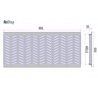 Решетка оцинкованная щелевая Plus 500 А15