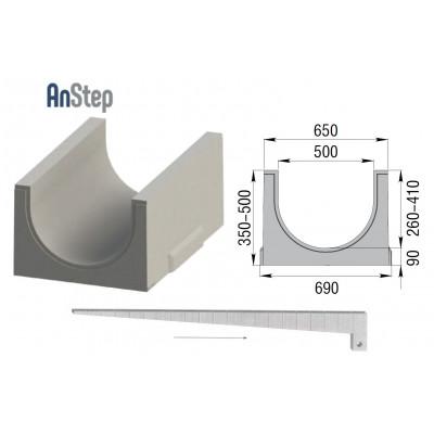 Лоток бетонный ЛВК ВМ Plus 500 c уклоном №01...20