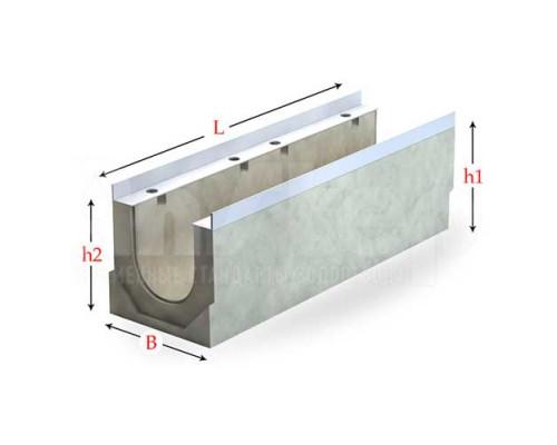 Лоток водоотводный бетонный серии Sir с внутренним уклоном 200 мм