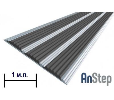 Алюминиевая полоса с резиновой вставкой (тройная), 1  м