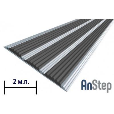 Алюминиевая полоса с резиновой вставкой (тройная), 2 м
