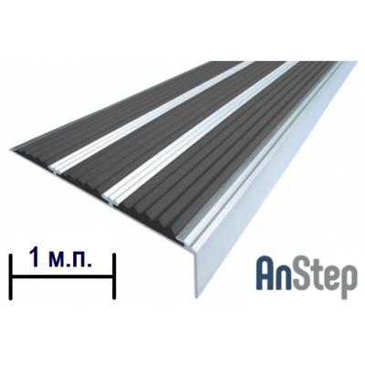 Алюминиевая накладка на ступень с резиновой вставкой (тройная), 1  м