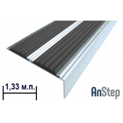 Алюминиевая накладка на ступень с резиновой вставкой (двойная), 1,33 м