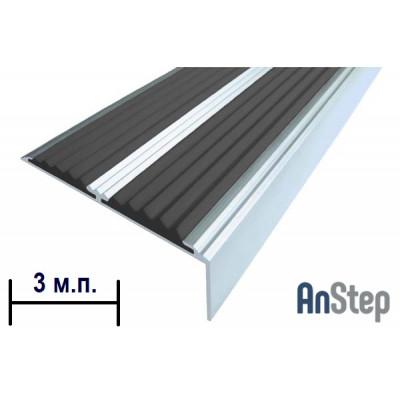 Алюминиевая накладка на ступень с резиновой вставкой (двойная), 3 м
