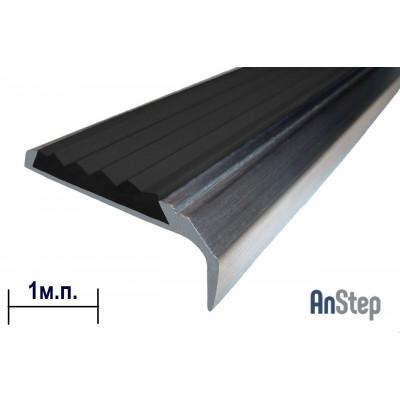 Алюминиевая накладка на ступень с резиновой вставкой, 1 м