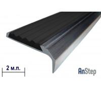 Алюминиевая накладка на ступень с резиновой вставкой, 2 м