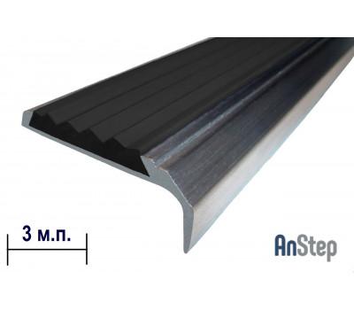 Алюминиевая накладка на ступень с резиновой вставкой, 3 м