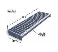 Лестничная ступень SР 34х38/30х2 Zn 600х240 мм