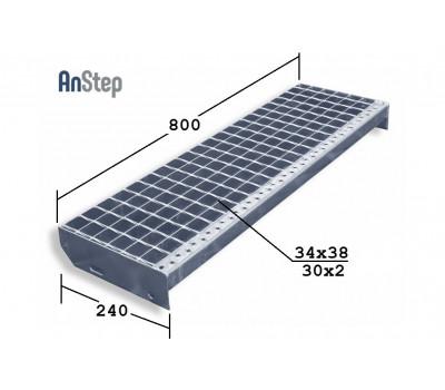 Лестничная ступень SР 34х38/30х2 Zn 800х240 мм