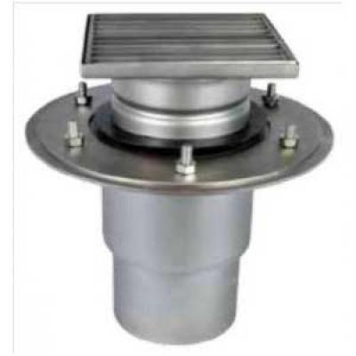 Трап мини 150х150 с вертикальным выпуском ∅ 110мм двухкорпусный с фланцами под гидроизоляцию