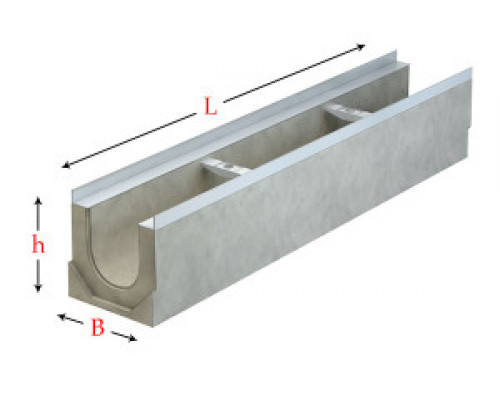 Лоток водоотводный серии Light с гидравлическим сечением 100 мм без уклона