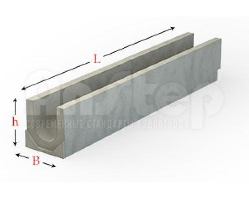Лоток водоотводный бетонный серии Plus с гидравлическим сечением 100 мм без уклона