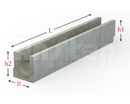 Лоток водоотводный бетонный серии Plus с внутренним уклоном 100 мм