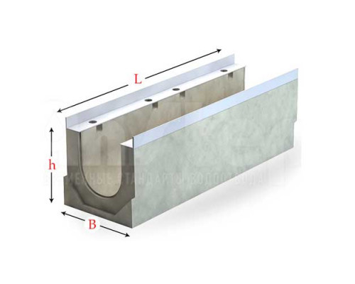 Лоток водоотводный серии Sir с гидравлическим сечением 300 мм без уклона
